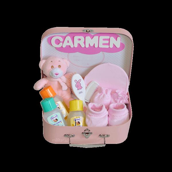 Canastilla maletín pequeño baby con regalos para el bebé