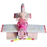 tarta de pañales baby shower avión