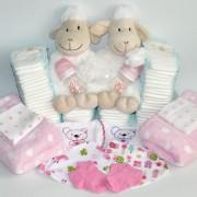 figura de pañales para gemelos baby shower