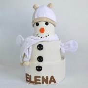 pastel de pañales muñeco de nieve