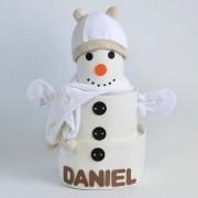 regalo de navidad con pañales muñeco de nieve
