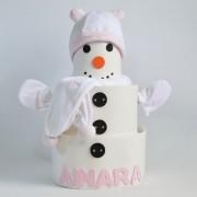 Tarta de pañales niña muñeco de nieve