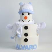 tarta de pañales niño muñeco de nieve