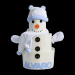 tarta de pañales baby shower muñeco de nieve