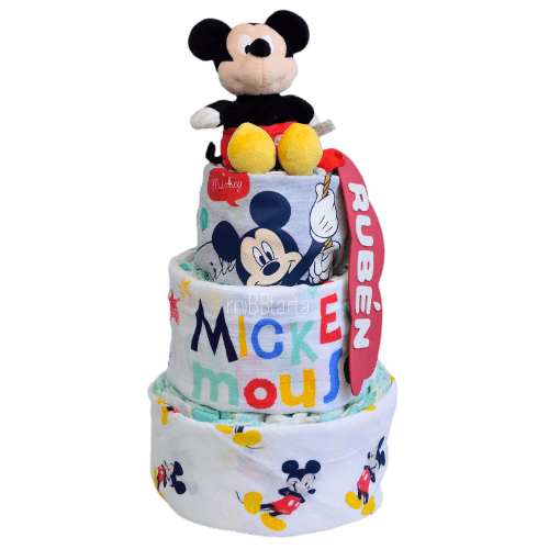 Tarta de pañales verano Mickey Minnie