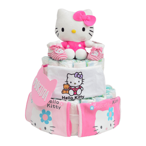 tarta de pañales Hello Kitty