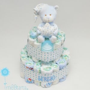 tarta de pañales para niño